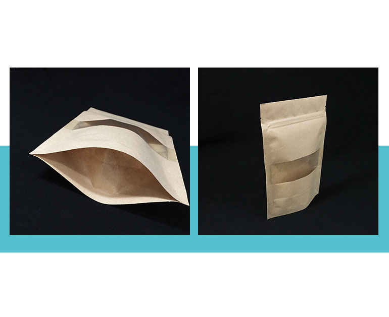 stand up zipper kraft food packaging with window