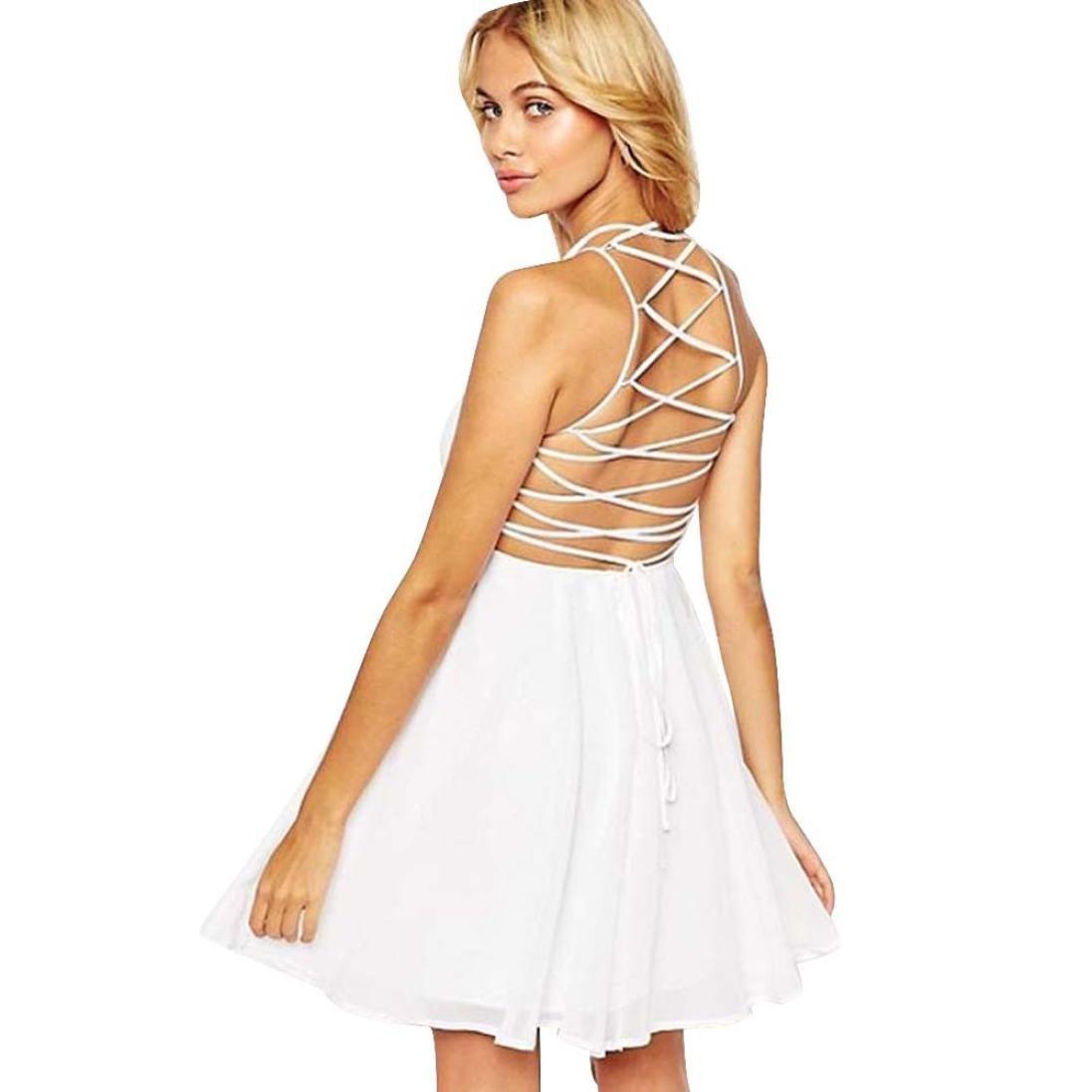 Cheap White Backless Skater Dress 41d2453f9