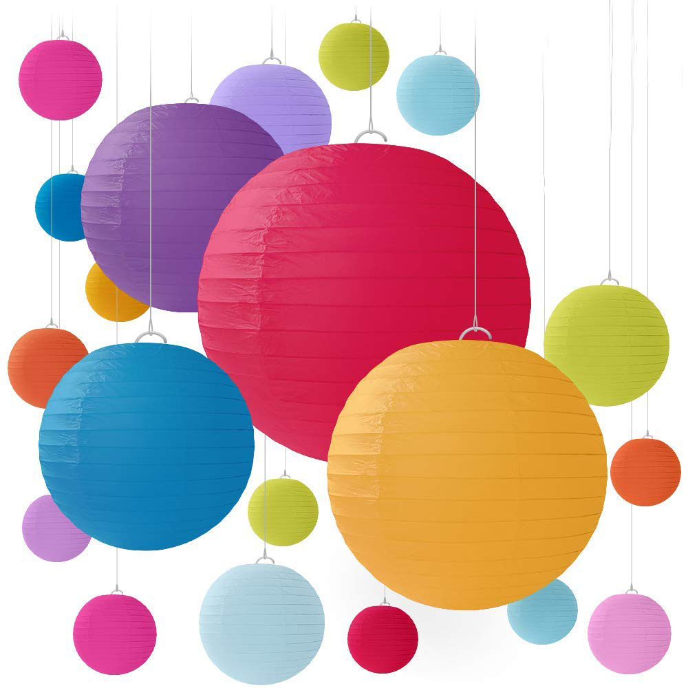 Nicro Custom Size Colorful Party Festival Home Decoration Tissue Round Chinese Hanging Paper Lantern