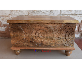 Wholesale Mango Hand Carved Wood Furniture Storage Chest Trunk Box