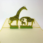 Green Giraffe 3D Pop Up Card Family Card Love Card