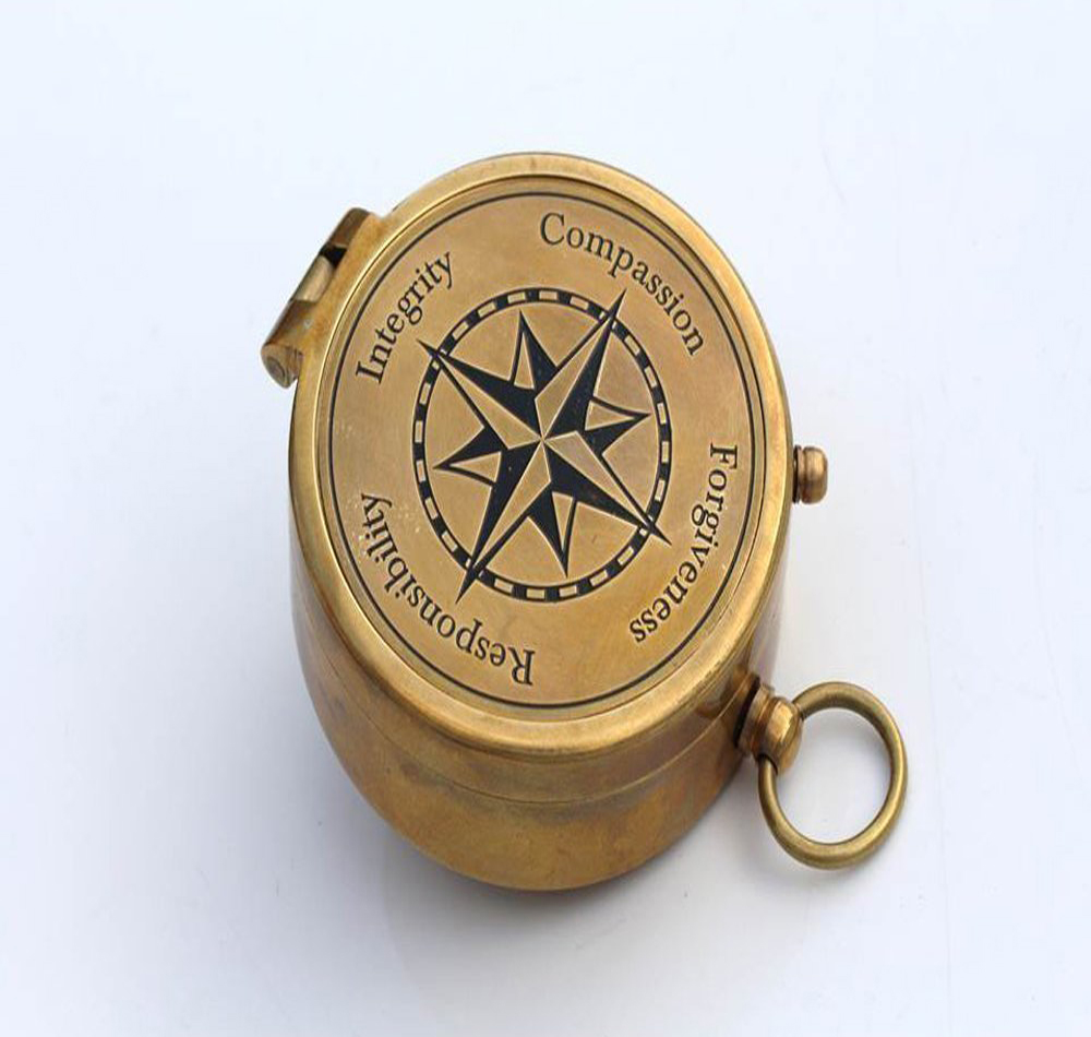 "Moral Compass ""Integrity,Responsibility,Forgiveness,Compassion"" With Leather Case."