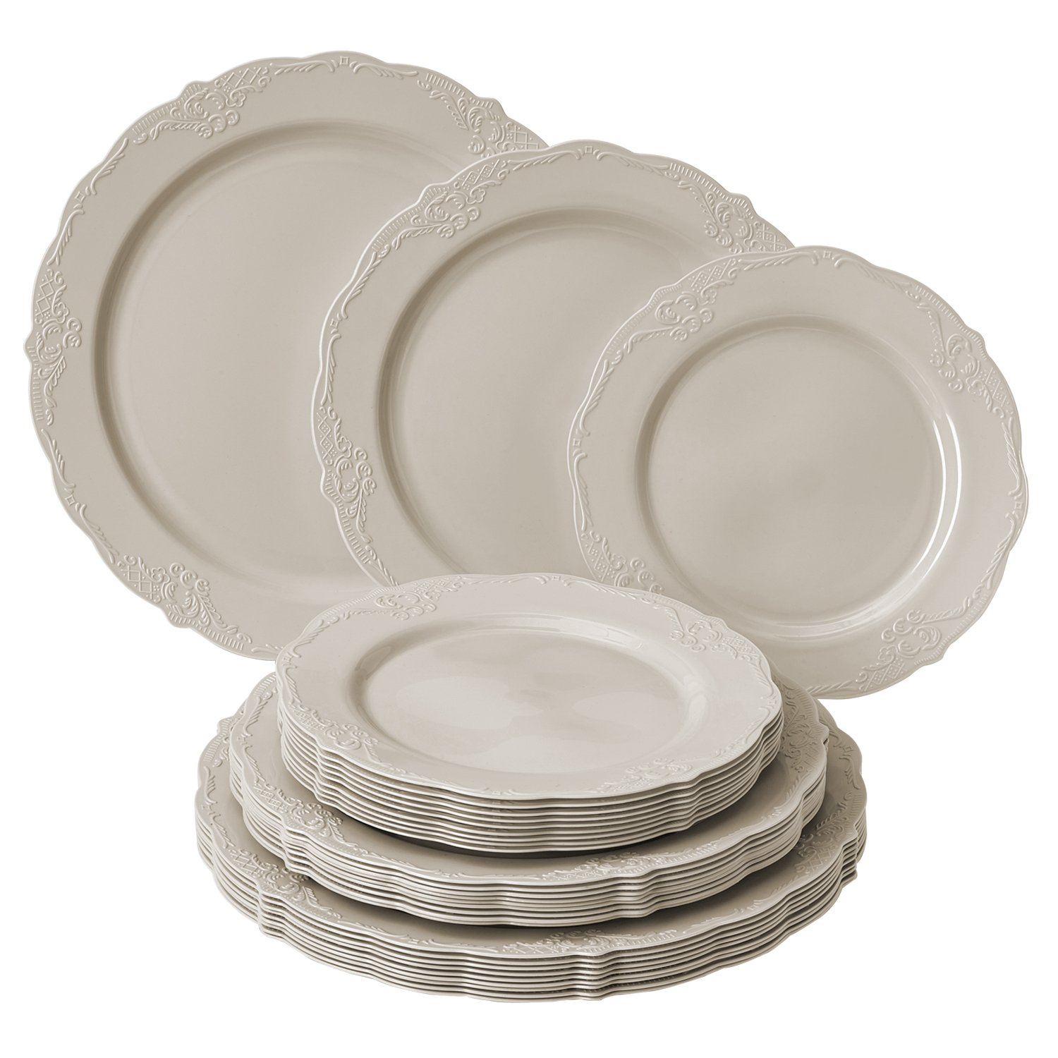 Party Disposable 30pc Dinnerware Set | 10 Dinner Plates | 10 Salad Plates | 10 Dessert Plates | Heavyweight Plastic Dishes | Fine China Look | Upscale Wedding and Dining (Vintage Collection - Cream)