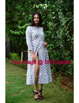 2e61562a471 Cotton Designer Front Split Dress Front Open Long Dress Button Kurtis  Fashionable Exclusive Cocktail Party Wear