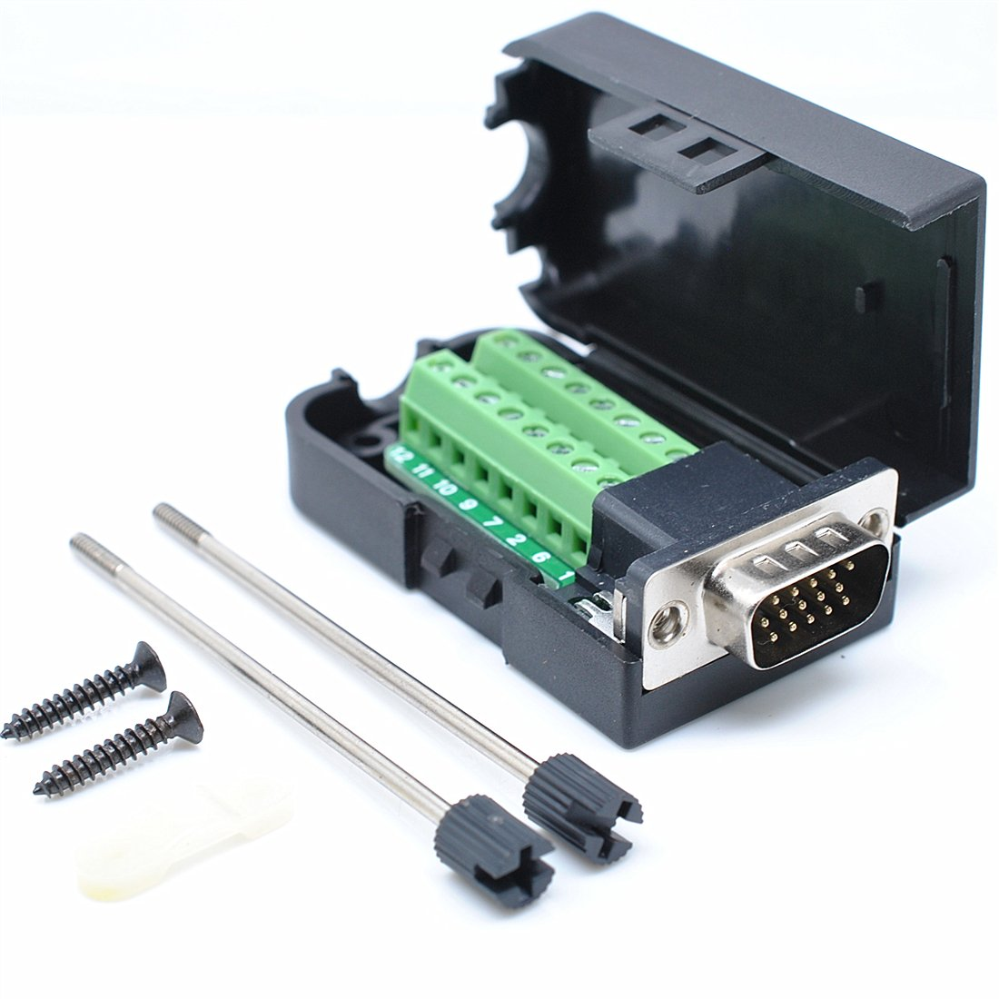 Oiyagai DB15 3+9 D-SUB VGA Male 3Row 15Pin Connector Adaptor Screw Terminal Breakout Board Free Welding