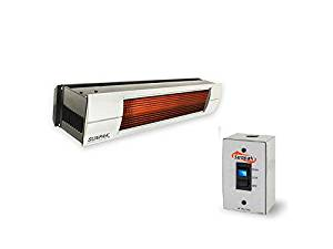 QBC Bundled Sunpak Two Stage Hardwired S34-B-TSH-12020-SS (25,000 BTU and 34,000 BTU) Hanging Patio Heater Black Natural Gas (NG) - Stainless Steel Front Fascia Kit - Plus Infrared Heating QBC eGuide