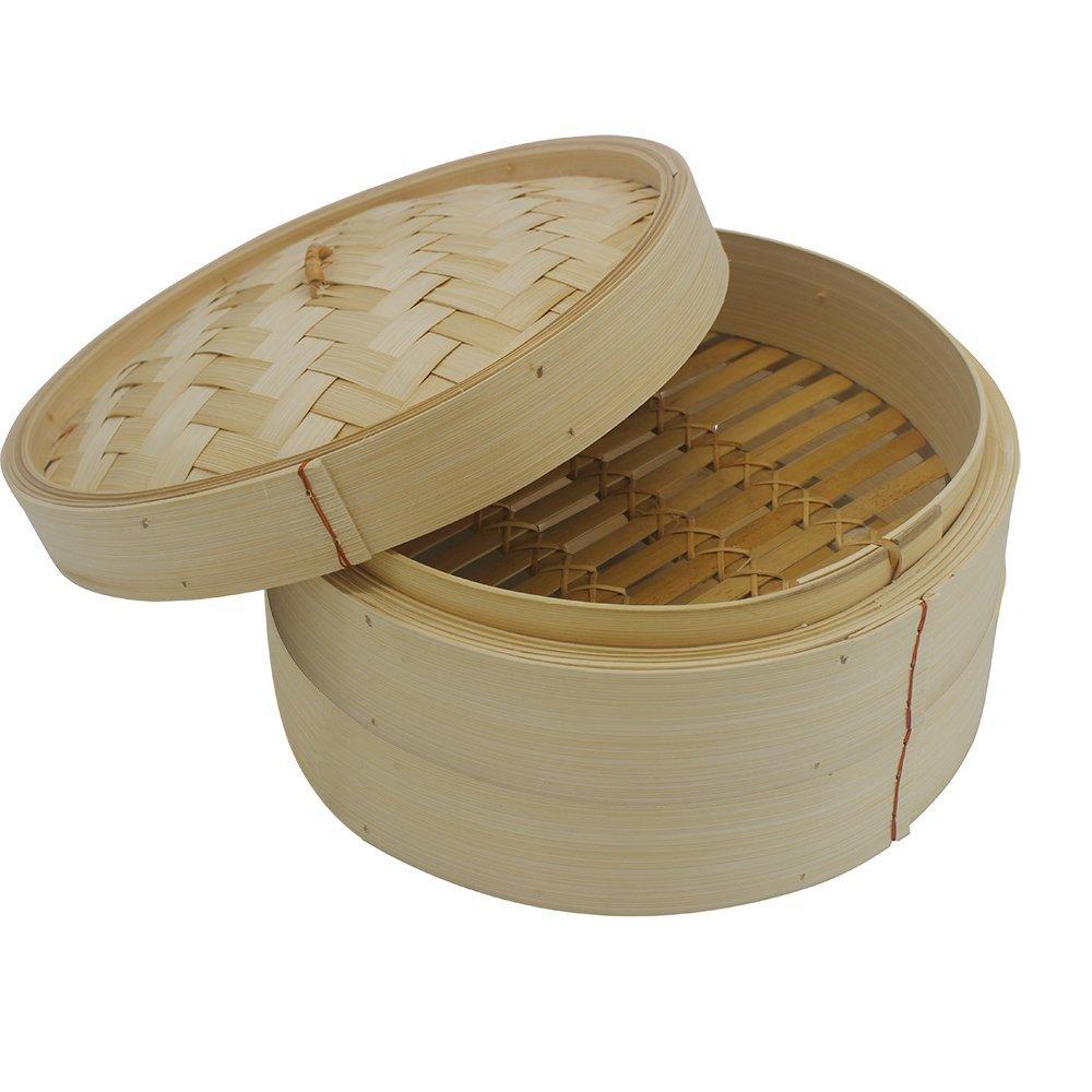 MyLifeUNIT 10 Inch Bamboo Steamer, 2 Tier Bamboo Steaming Basket with FREE 50 Counts Bamboo Steamer Liners, for Cooking Vegetables, Rice, Fish, Dim Sum