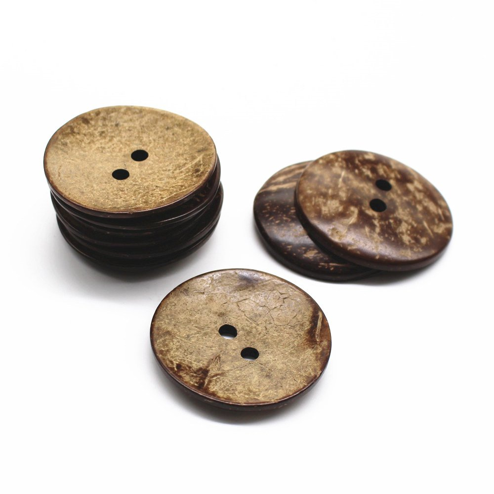 YaHoGa 10 pcs Natural Coconut Shell Buttons 2 Inch 50MM Large Coconut Buttons for Sewing DIY Crafts