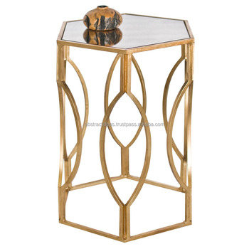 Gold Hexagon Side End Coffee Table Metal Frame Glass Top Accent