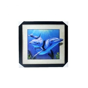 5D dolphin picture with frame for decor 3d lenticular picture