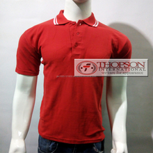Red Polo Cotton Shirts white collar
