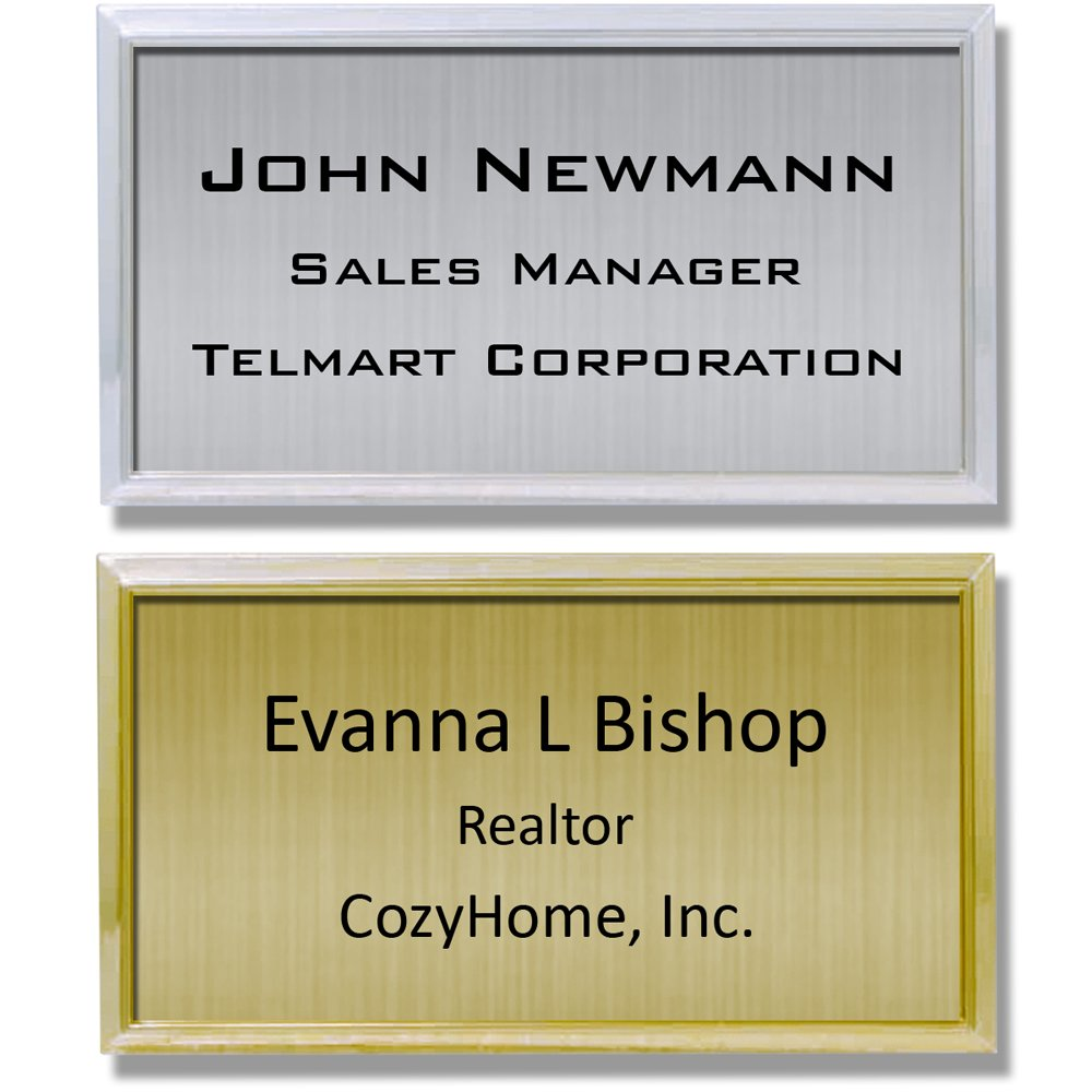 "Name Tag ID Badge Custom Personalized I.D. Identification - 1 1/2"" x 3"""