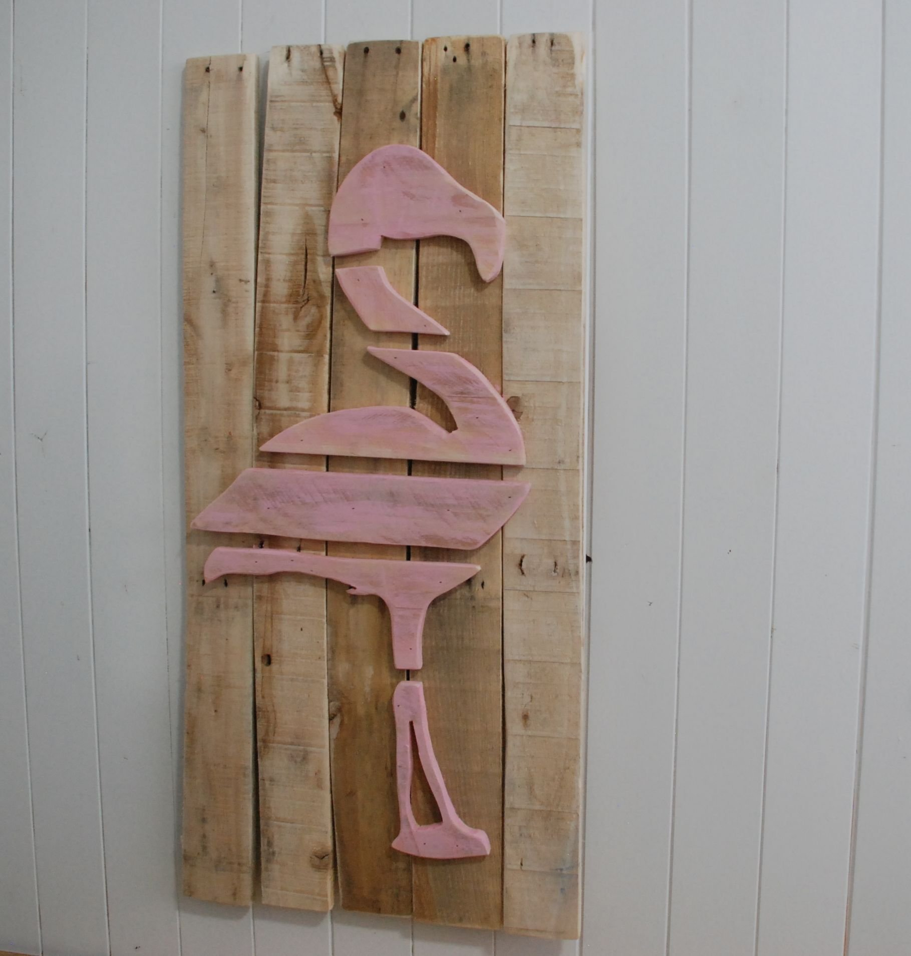 Layered Wood on Wood Pink Flamingo Wood Beach Wall Art, Breast Cancer Flamingo, Pink Flamingo Art, Pink Flamingo Decor, Flamingo Picture, Tropical Decor