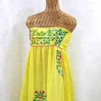 Embroidery Dress Summer Casual Mexican Strapless Long Dress