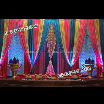 Beautiful Wedding Decoration Stage Backdrop,Colorful Wedding Pleated  Backdrop Curtain/stylish Mehndi Stage Backdrops Curtains - Buy Sequin