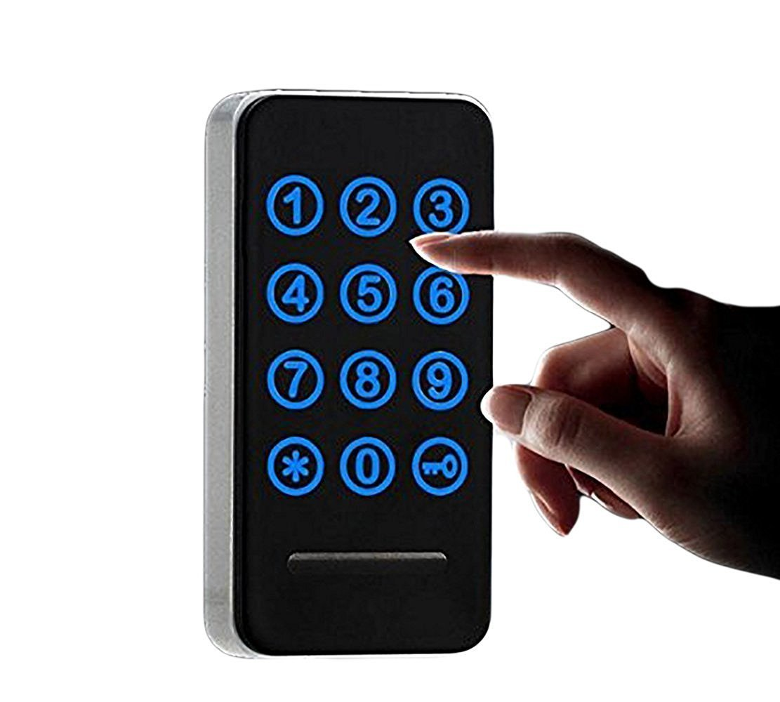 Electronic Cabinet Lock Kit Set, Digital Touch Keypad Lock, Password Entry and RFID Card / Wristband Entry, Keyless Door Lock Knob
