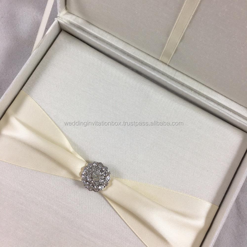 Silk Wedding Invitation Boxes With Brooch, Silk Wedding Invitation ...