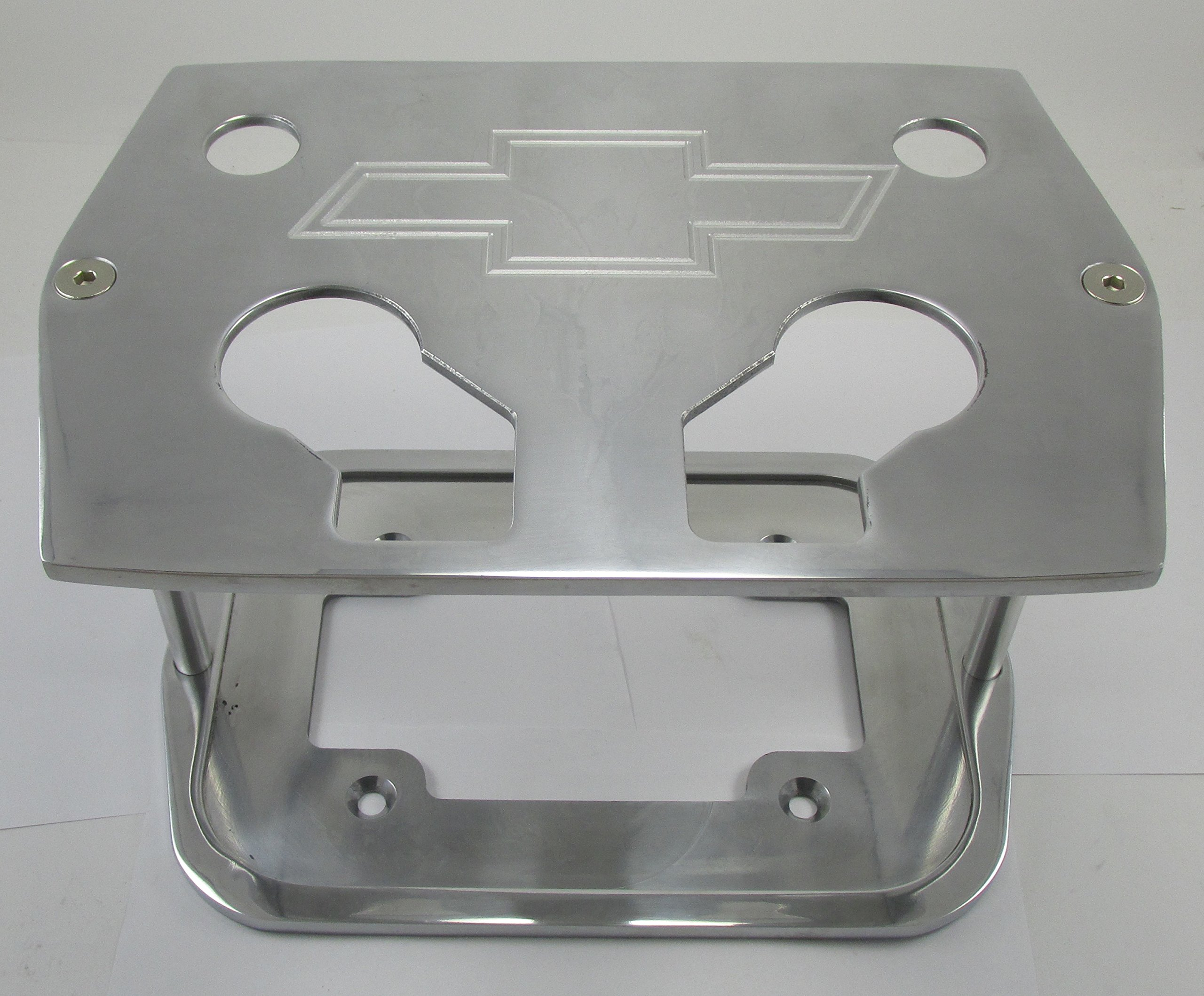 Billet Aluminum Group 34/78 Optima Battery Tray - Chevy Bowtie Logo - Polished - Red Yellow Blue Top