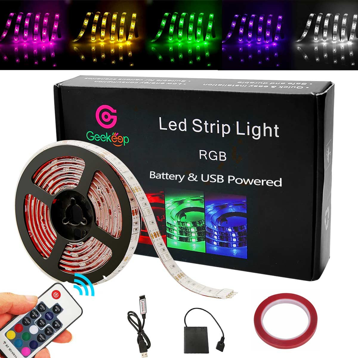 G GEEKEEP Battery Powered Led Strip Lights, Geekeep Waterproof RGB Led Strip Rope Lights with Remote,USB Cord and Bonus Roll Adhesive Tape (2m/6.56ft)
