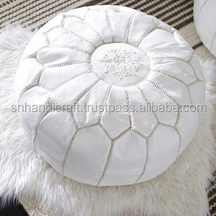 Enjoyable White Moroccan Pouf Ottoman Nursery Footstool Moroccan Leather Pouf Baby Room Round Ottoman Bohemian Home Decor Buy Moroccan Leather Pouf Machost Co Dining Chair Design Ideas Machostcouk