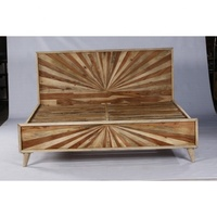 Industrial & vintage Indian old solid mango wood Partical design King bed