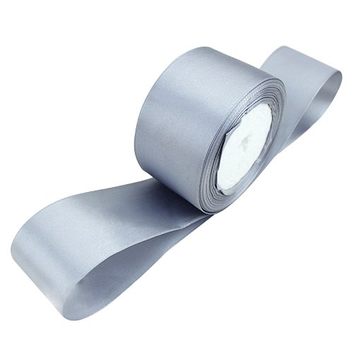 TOOGOO(R) 1 roll (25 yards/roll) 2'' (50mm) single face Satin Ribbon Webbing Decoration Gift Christmas Ribbons(gray)