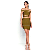 2018 ladies New Off Shoulder Front Cut Out Green Bandage Dress