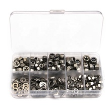 Urlwall 255 Pcs Hexagon <span class=keywords><strong>Schroef</strong></span> Noten Plain Washer Kit Rvs M4/M5/M6 Voor Machine/Auto met Nylon Fastener Washer