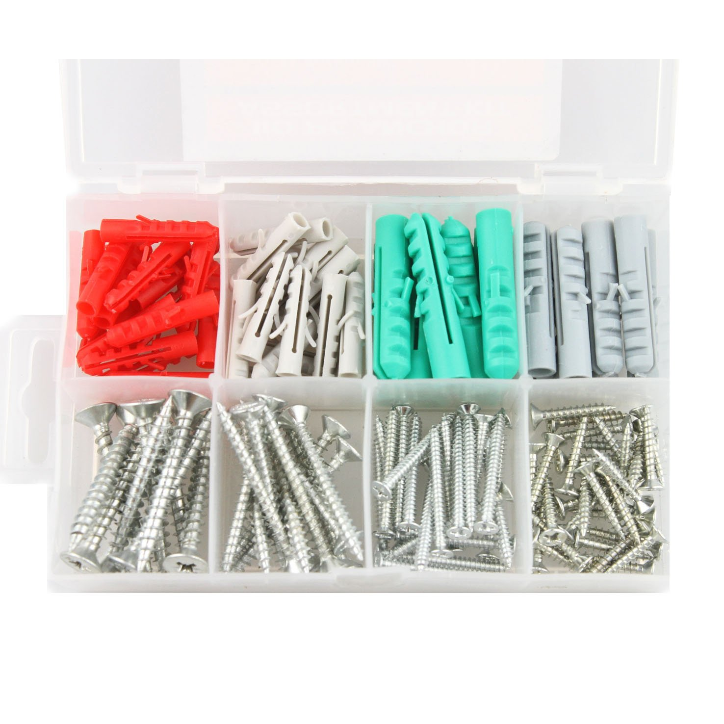 Self Drilling drywall anchors screw assortment, heavy duty drywall anchors with screws, molly bolts, sheetrock anchors (110 pcs plastic wall anchors and screws)