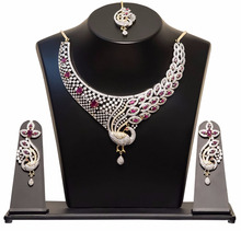 American Diamond CZ Indian Bollywood Fashion Jewellery Festive Party Wedding Necklace Set With Matching Maang Tikka