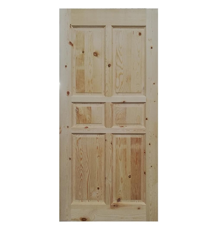 6 Panel Knotty Pine Interior Entrance Solid Wooden Door