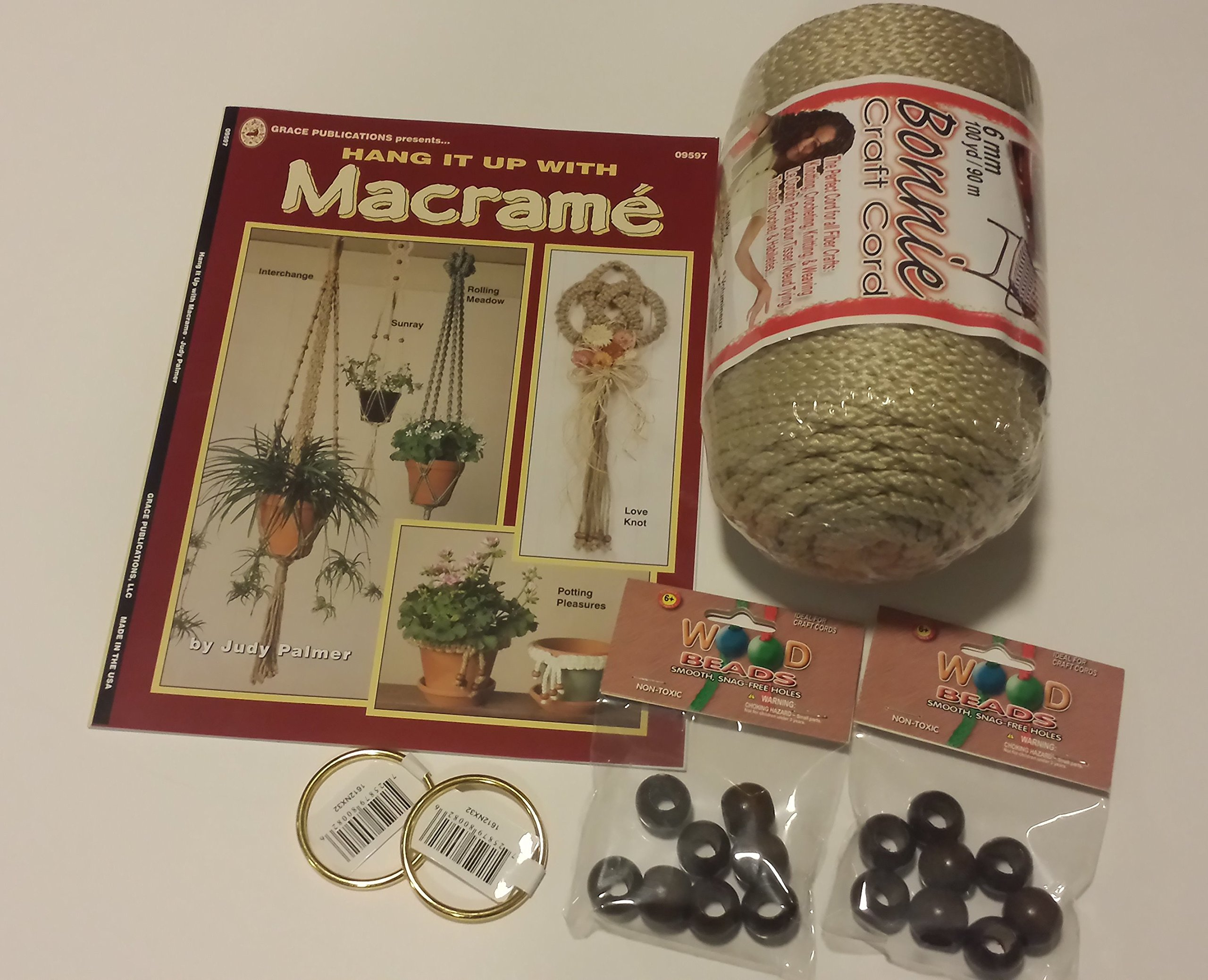 Macrame kit bundle with Craft Cord, Wooden Beads, Rings, and Project Book for plant hangers and wall hangings (pearl)