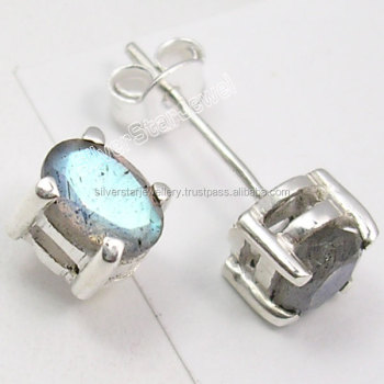Wholesale jewelry india ! solid sterling silver faceted oval blue  labradorite earrings ! handmade beautiful design
