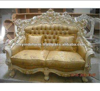 European Design Wooden Carved 2 Seater Royal Barcelona Sofa Set