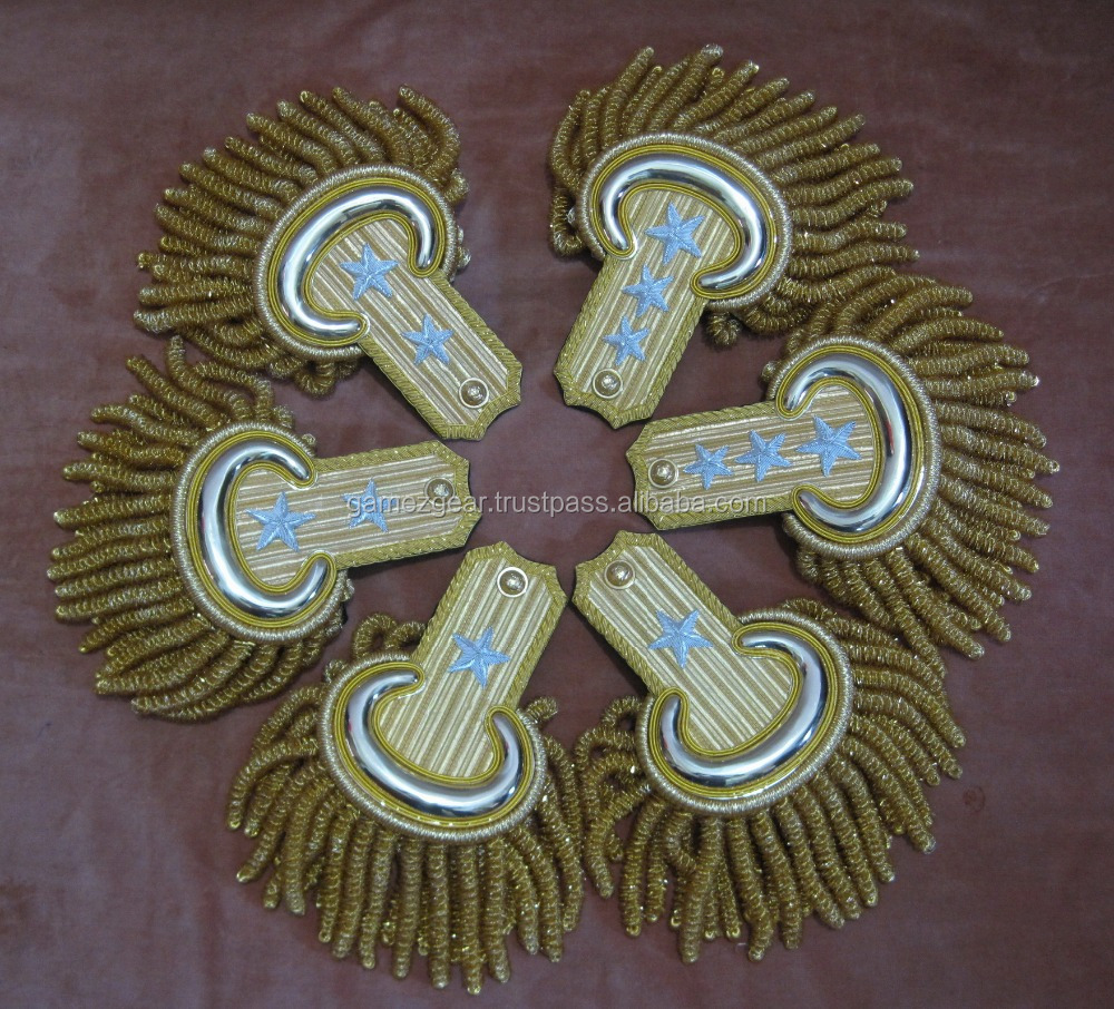 Hand Embroidered Epaulettes / Shoulder Boards with Bullion Fringe and Gold Plated Metal Fittings