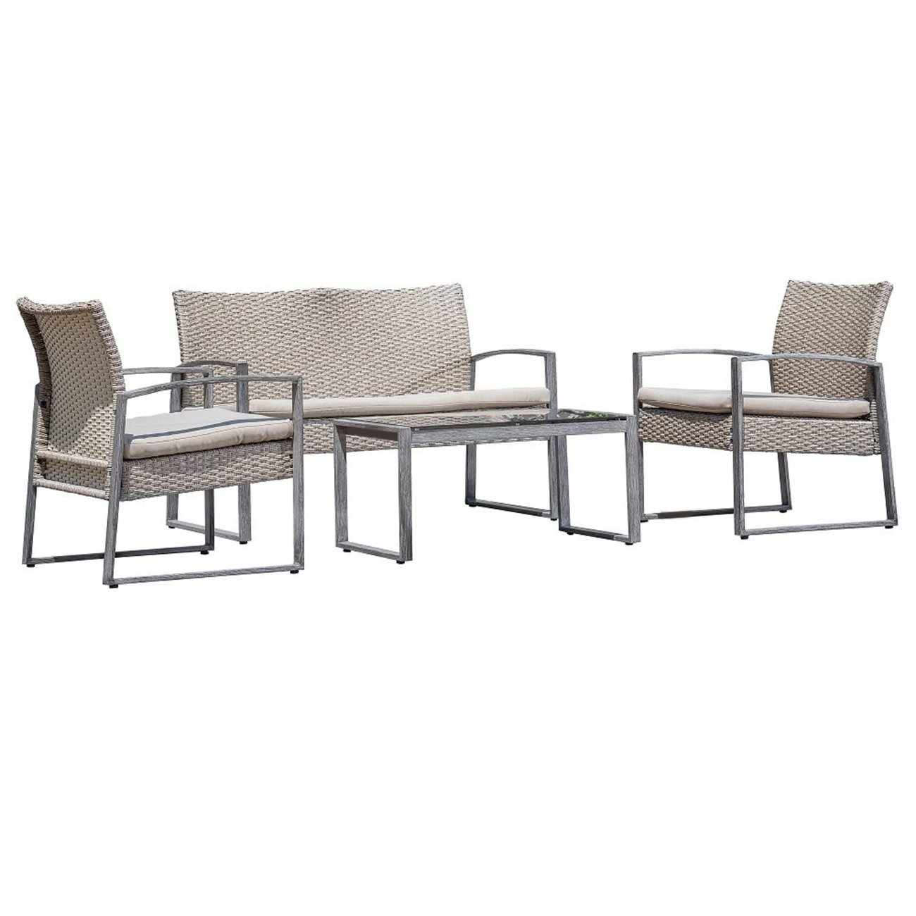 Outdoor Patio Furniture Set Cushioned 4 Pieces Wicker Patio Set Table, Two Chairs and a Loveseat Gray Finish with Beige Cushions Outdoor Furniture Lawn Rattan Garden Set