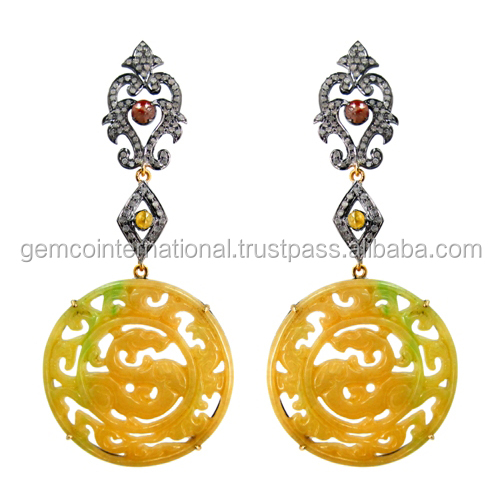 Diamond Gemstone Carved Yellow Jade Carving Earring For Womens Earrings
