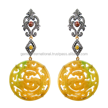 Diamond Gemstone Carved Yellow Jade Carving Earring For Womens