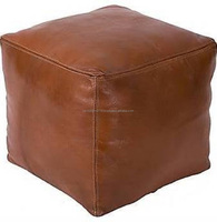 Moroccan Handmade Genuine Leather Square Pouf Stools
