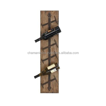 Metal Wood Wall Mounted Wine Rack