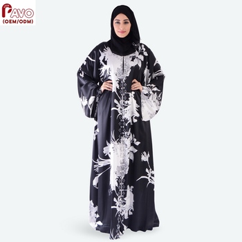 Popular Islamic Muslim Women Clothing silk full Printed open Abaya Dress Dubai Abaya