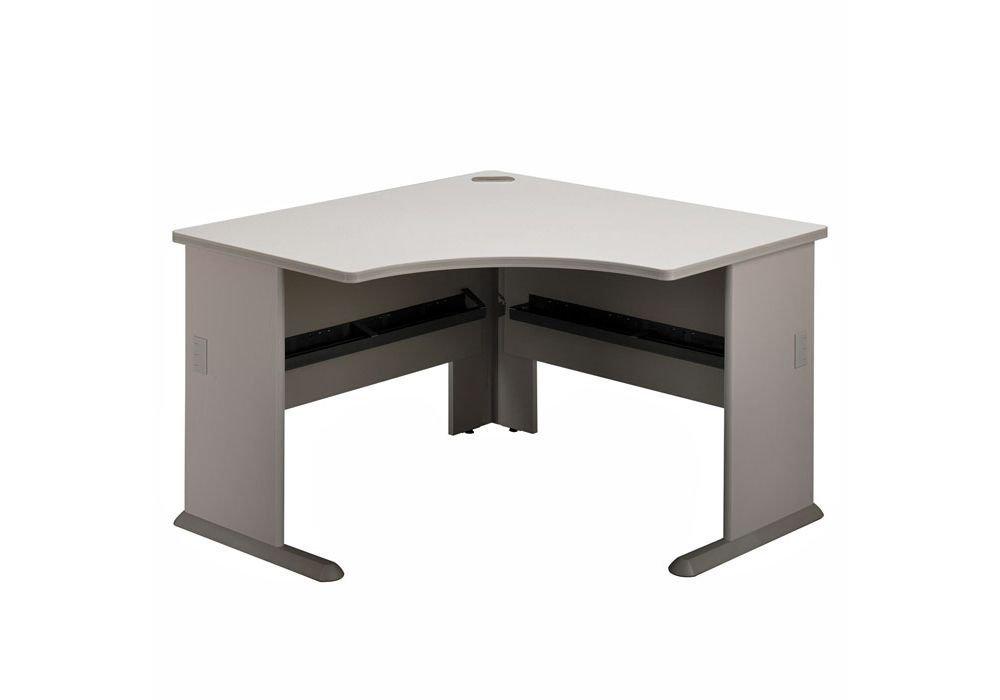 "Bush Series A Corner Desk - 48""W x 47""D x 30""H Dimensions: 47.25""W x 47.25""D x 29.75""H Weight: 114 lbs White Spectrum Top/Pewter Base"