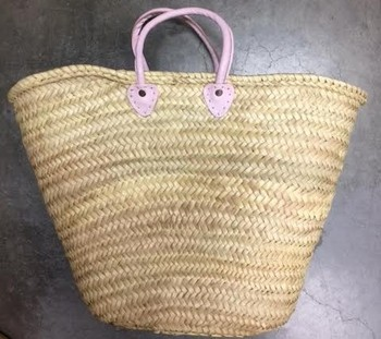 Handmade Straw Basket with baby Pink Leather Handles
