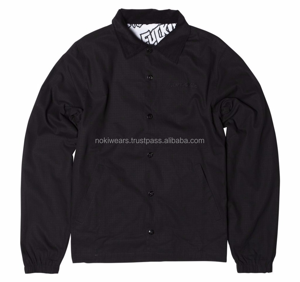 Wholesale Custom Fashion Winter Women 100% Nylon Black Coaches Jacket / custom coaches jackets/At Noki Wear
