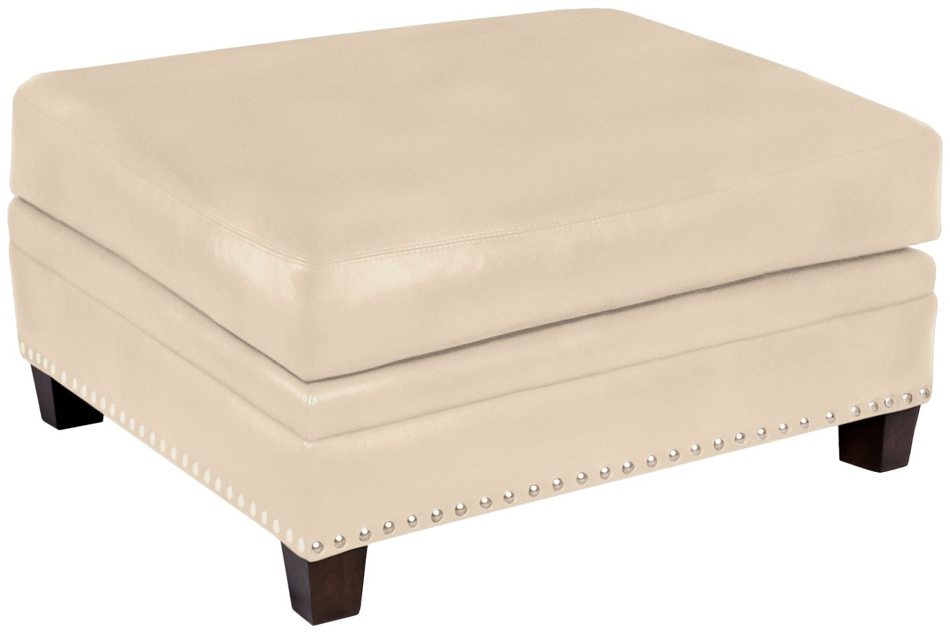 Omnia Leather Glendora Ottoman in Leather, with Nail Head, Softstations White Winter