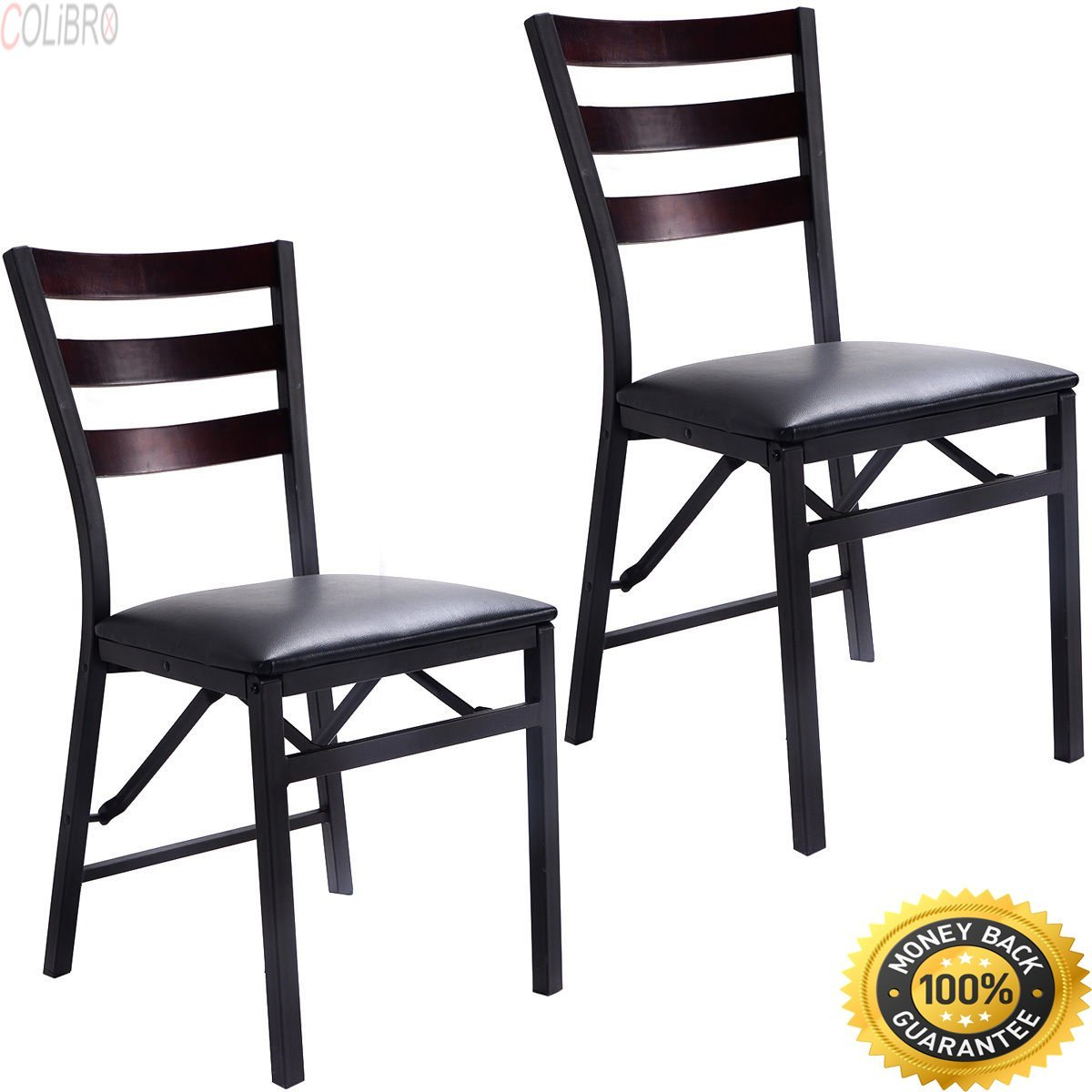 COLIBROX--Set of 2 Folding Chair Dining Chairs Home Restaurant Furniture Portable New Giantex Set of 2 Wood Folding Chair Dining Chairs Home Restaurant Furniture