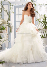 White Bridal Wedding Dress Ball Gown Soft Tulle Ruche Dress Alluring