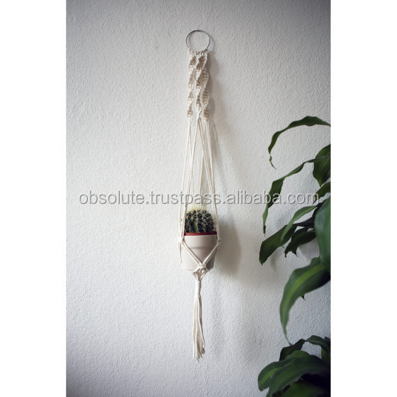 Multi Colored Macrame Plant Holder Braided Plant Hanger