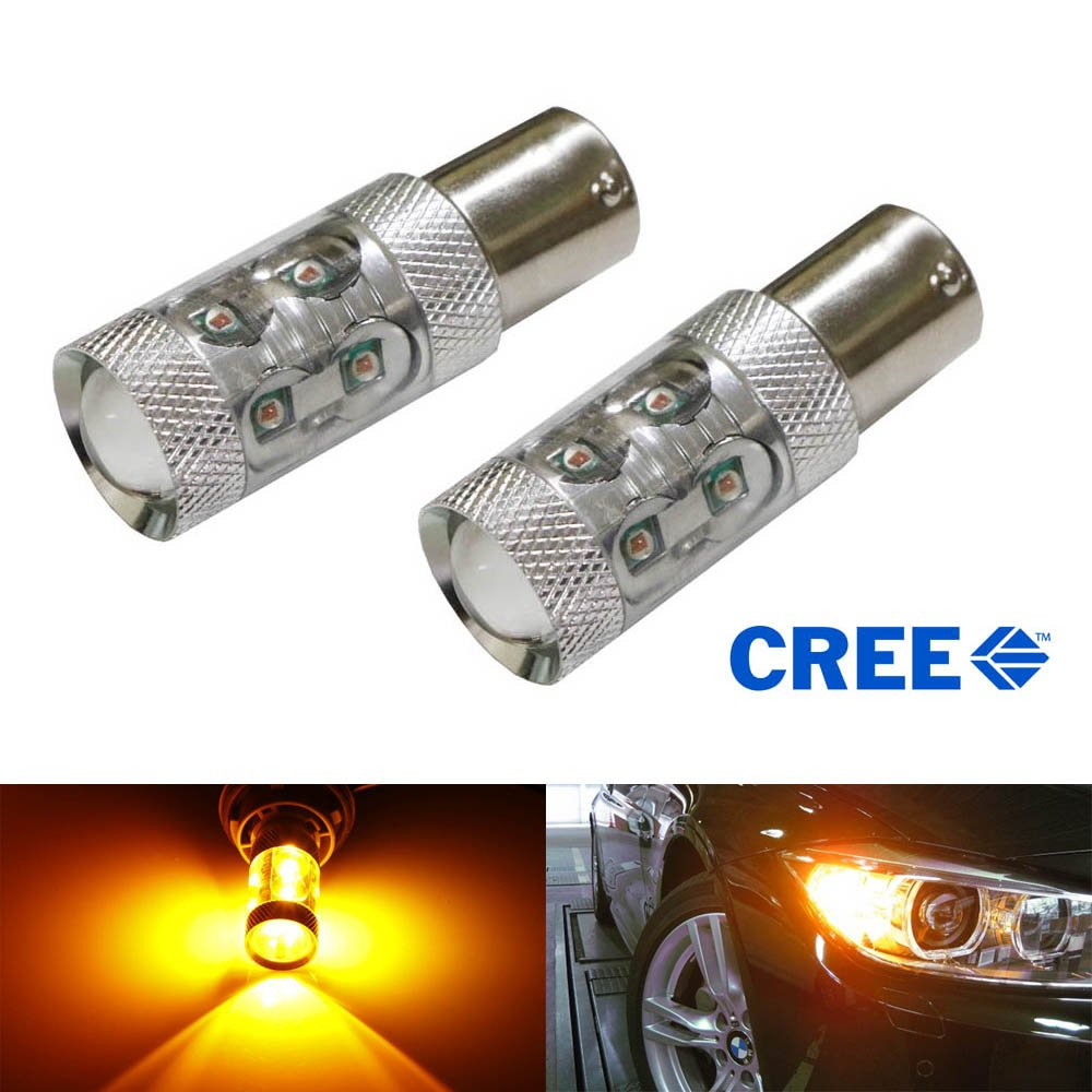 iJDMTOY (2) Amber CAN-bus 50W CREE 7507 PY21W LED Bulbs For BMW 1 2 3 4 5 Series X1 X3 X4 X5, etc Front or Rear Turn Signal Lights