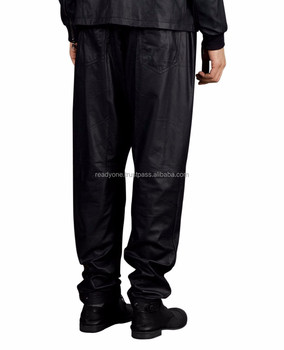 83307347405866 Mens Leather Jeans Pant Trouser Biker Red Black & White Contrast ...